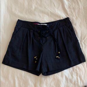 DVF tie front, side zip sailor shorts
